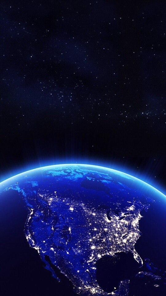 Фото Вид огней с Земли из космоса