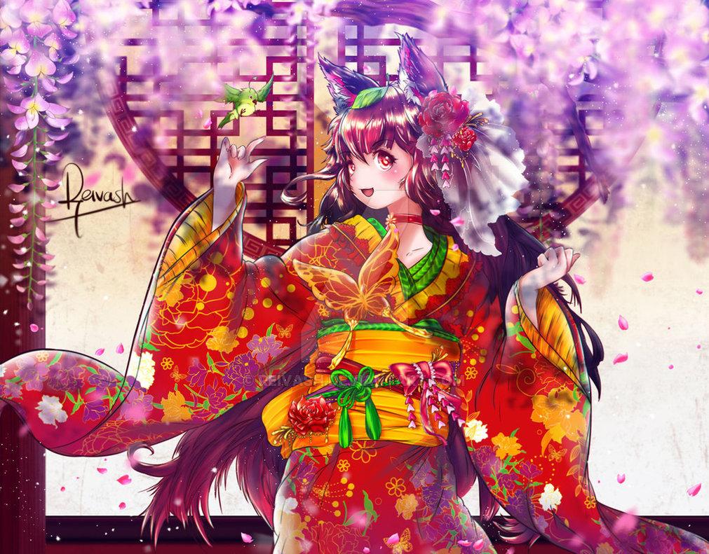 Фото Нэко девушка с длинными волосами с цветком в волоса, в кимоно на фоне дома с птицей, by Reivash