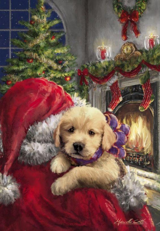 Фото Санта-Клаус стоит возле украшенного камина с носками и держит на руках щенка лабрадора, итальянский художник Марчелло Корти