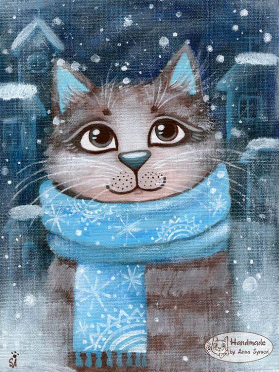 Фото Кот в шарфе под падающим снегом, на фоне ночного городка (Handmade by Anna Syroed / работа Анны Сыроед)