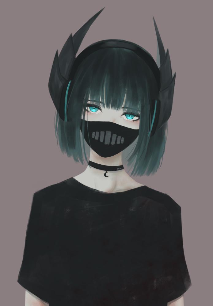 Аниме арт девушка в маске