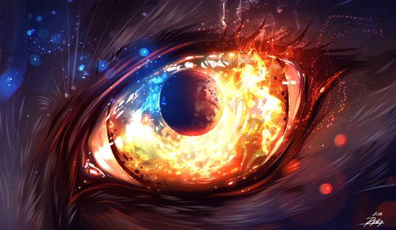 Фото Глаз животного с изображением лунного затмения и огня внутри, by ryky
