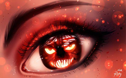 Фото Монстр внутри женского глаза в праздник The Halloween / Хэллоуин, by ryky