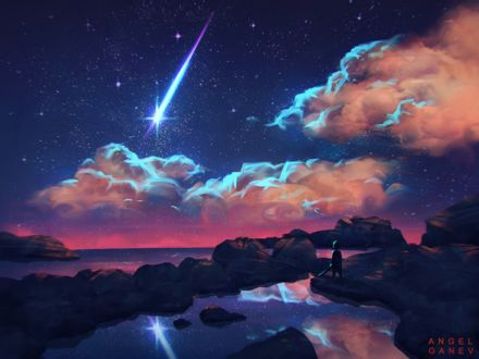 Фото Ребенок стоит на камнях у моря, любуясь падающей падающей звездой в звездном небе с розовыми облаками, by AngelGanev