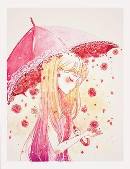 Фото Девушка с зонтом под цветочным дождем, by Rabiscario (© zmeiy), добавлено: 05.12.2017 21:44