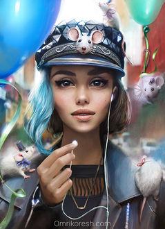 Фото Девушка с наушниками, в кепке, в окружении белых крысок и воздушных шаров, by OmriKoresh (© zmeiy), добавлено: 05.12.2017 21:50