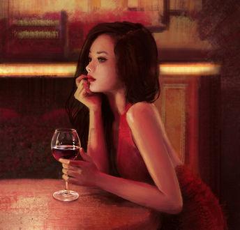 Фото Девушка в красном платье, с бокалом вина в руке, сидит за столиком, by Mandy Jurgens (© Баюшка), добавлено: 06.12.2017 00:44