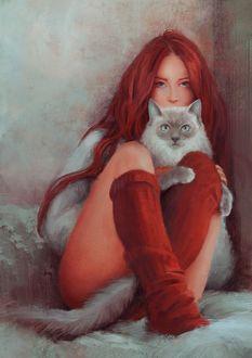 Фото Девушка с красными волосами, в красных чулках, с кошкой в ногах сидит у стены, by Mandy Jurgens (© Баюшка), добавлено: 06.12.2017 00:45