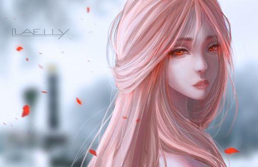 Фото Девушка с длинными розовыми волосами и янтарными глазами на фоне красных лепестков, by Laelly-EL