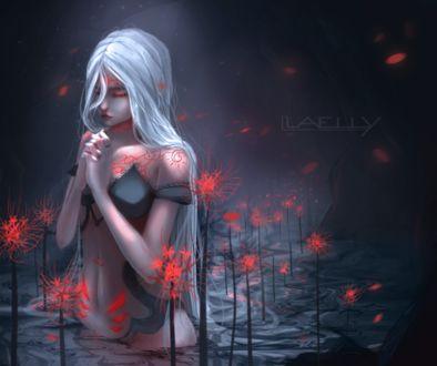 Фото Длинноволосая белокурая девушка стоит в воде среди красных ликорисов, by Laelly-EL