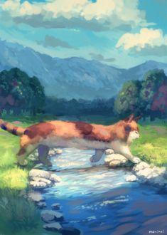 Фото Трехцветная кошка переходит ручей, by manino (mofuritaionaka)