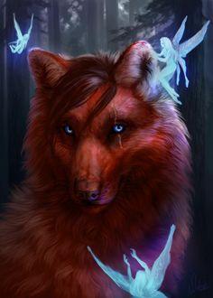 Фото Волк в окружении эльфиек, by Wolnir