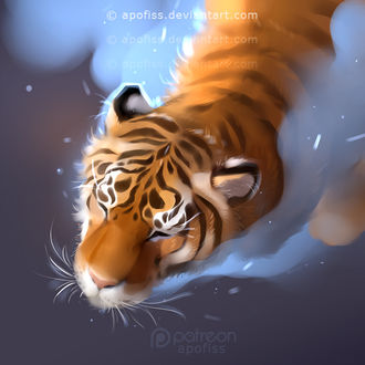 Фото Тигр с закрытыми глазами в воде, by Apofiss