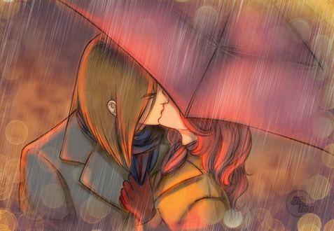 Фото Влюбленные целуются под зонтом