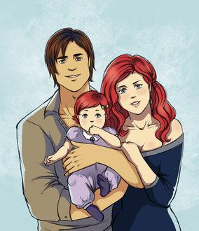 Фото Молодая семья на серо-голубом фоне
