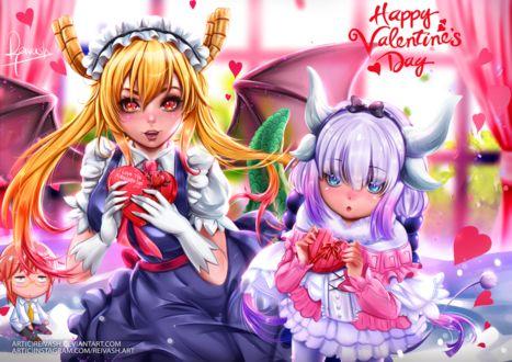 Фото Тору / Toru и Канна Камуи / Kanna Kamui из аниме Дракон-горничная Кобаяши / Kobayashi-san Chi no Maid Dragon (Happy Valentines Dey / С днем святого Валентина), by Reivash
