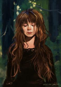 Фото Девушка с длинными волосами и закрытыми глазами, в черной одежде, стоит на фоне деревьев, by valentina-s