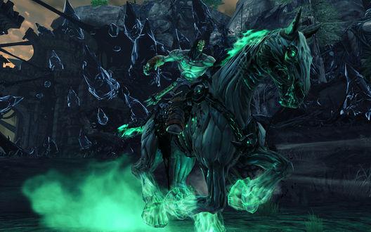 Фото Всадник и конь-демоны, объятые зеленым пламенем, мчаться по дороге
