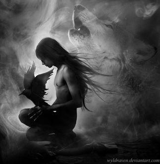 Фото Парень с длинными волосами и когтями, с вороном на колене, сидит на фоне духа волка в тумане, by wyldraven