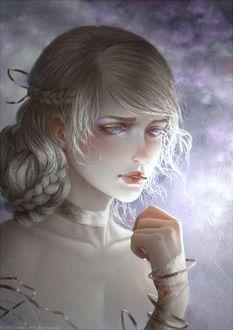 Фото Грустная голубоглазая девушка, by Aoleev