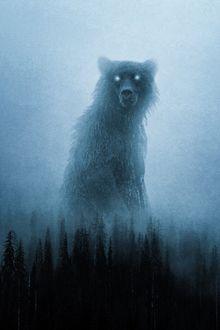 Фото Медведь-дух леса возвышается над деревьями