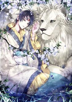 Фото Hakutaku / Хакутаку из аниме Хладнокровный Хозуки / Hoozuki no Reitetsu сидит рядом со львом, by nokcy
