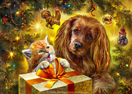 Фото Щенок и котенок сидят под новогодней елью возле подарка, by Nadia Strelkina