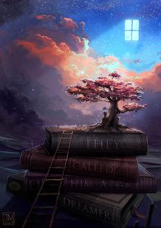 Фото Мальчик сидит у цветущего дерева на стопке книг, у корой стоит лестница и мечтает, by jerry8448