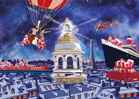 Фото Дети на воздушном шаре летят на встречу Деда Мороза, стоящего на корабле, by Spiros Halaris