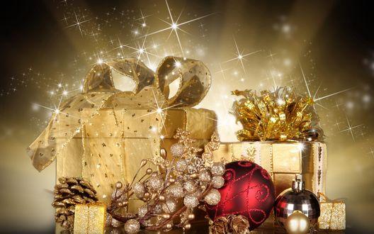 Фото Новогодняя композиция на фоне боке с мерцанием