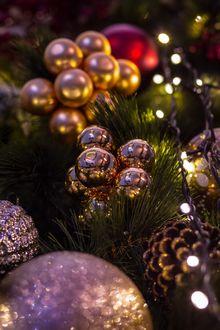 Фото Новогодние шары в еловых ветках