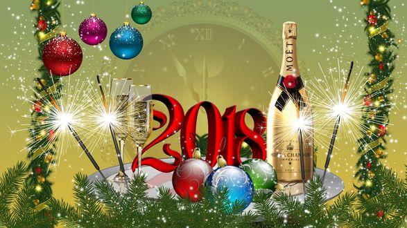 Фото Новогодняя композиция: шампанское, шарики и бенгальские огни среди еловых веток, на фоне часов с приближающимися к полуночи стрелкам (2018)