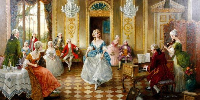 Фото Госпожа приветствует гостя на великосветском балу, начало XX век. художник Charles Willis Вечер