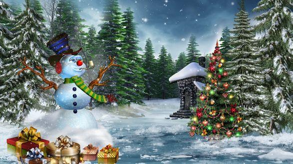 Фото Веселый снеговик, с трубкой во рту и наушниками, стоит в лесу рядом с подарками и наряженной елкой