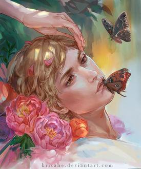 Фото Рука девушки нежно касается головы светловолосого парня, лежащего среди цветов, рядом порхают бабочки, одна из которых села на его губы, by Krisahe