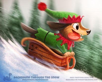 Фото Счастливая такса в костюме рождественского эльфа катится с горы на санях, by Cryptid-Creations