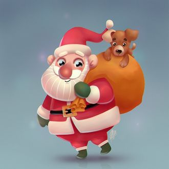 Фото Санта Клаус с мешком подарков, на котором сидит щенок, by krajono