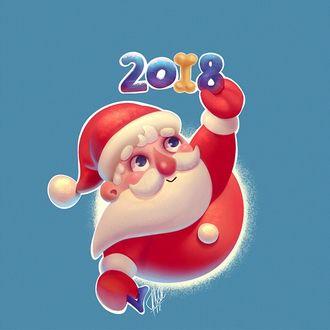Фото Санта Клаус и надпись 2018, где цифру один заменяет косточка, by krajono
