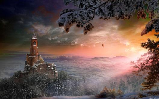 Фото Последний луч солнца освещает зимнюю природу с замком и воздушным шаром в небе, фотограф Игорь Зенин