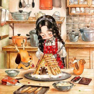 Фото Девочка готовит новогодний пряничный домик и ей помогает белка и щенок