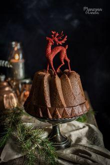 Фото Новогодний пирог с фигурой оленя наверху стоит на столе, на котором лежат еловые ветки, by Manzana&Canela