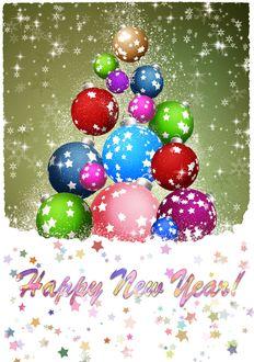 Фото Разноцветные шары выложены в форму елки и надпись Happy-New-Year / С Новым годом под падающим снегом и звездочками