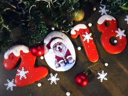 Фото Новогоднее печенье в виде цифр 2018 покрыто красной зеркальной глазурью и с изображением собаки в новогоднем костюме лежит под елкой, рядом лежат новогодние игрушки и снежинки
