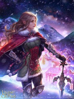 Фото Эльфийка в новогоднем плаще с мечом стоит на фоне украшенного к рождеству поселения в заснеженных горах (Legend of the Cryptids), by Zolaida