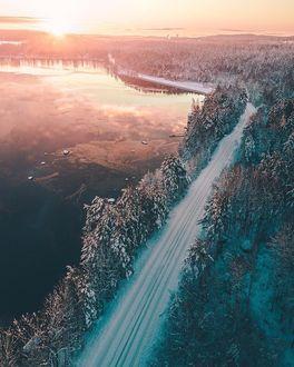 Фото Озеро, покрытой льдом, и дорога среди елей, фотограф Alexander Neimert