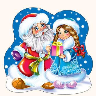 Фото Дед Мороз и снегурочка с подарком в руках