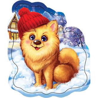 Фото Щенок в красной шапочке на снегу