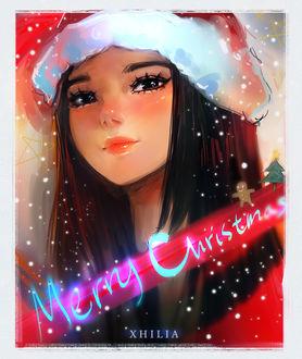 Фото Девушка в новогодней шапочке под падающим снегом (Merry Christmas / Веселого Рождества), by Xhilia7