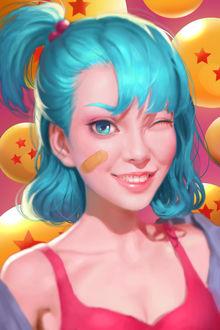 Фото Девушка с голубыми волосами, собранными в хвостик на макушке, с пластырем на щеке, улыбается и подмигивает, на фоне желтых шариков со звездочками, by xx r