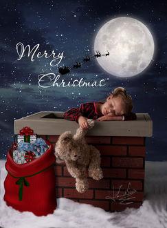 Фото Девочка в трубе на крыше дома уснула в ожидании Santa / Санты, держа за лапу плюшевого мишку (Merry Christmas / С Рождеством), by Energiaelca1